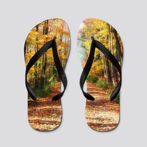 autumn road Flip Flops